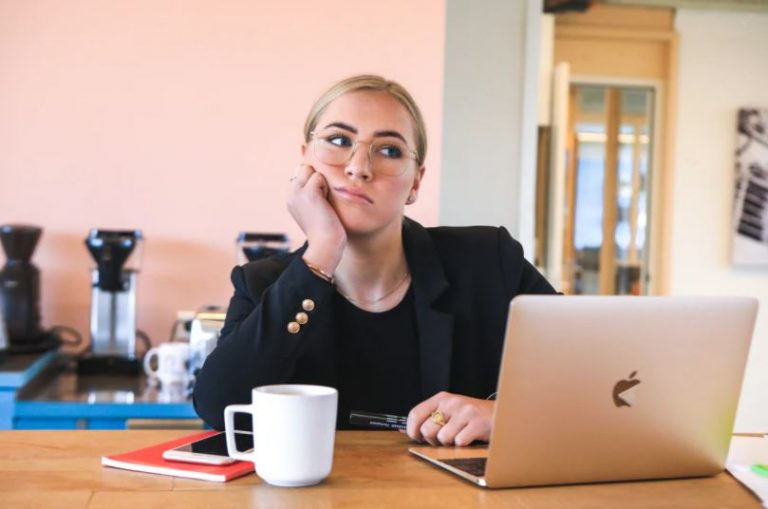 Lady working from home, frustrated